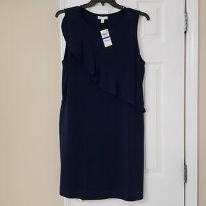 Charter Club navy dress with asymmetrical ruffle